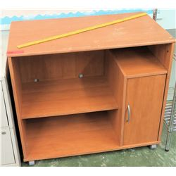 Wooden Shelving Unit on Wheels (RM-CampMin)