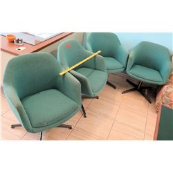 Qty 4 Upholstered Green Swivel Chairs (RM-102)
