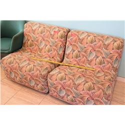 Qty 2 Upholstered Leaf-Print Lounge Chairs (RM-102)