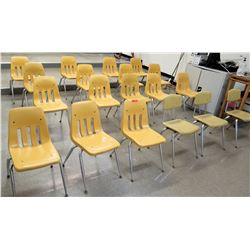 Qty 19 Yellow Plastic Chairs w/ Metal Frame (RM-123)