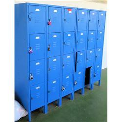 Blue 24-Compartment Metal Storage Lockers