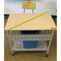 Rolling Metal Desk w/ Chair & Wastebasket (RM-223)