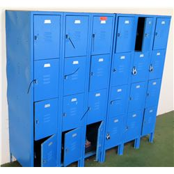 Blue 24-Compartment Metal Storage Lockers