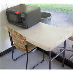 Sharp Microwave Oven, Folding Table & Chair (RM-Stdnt Center)