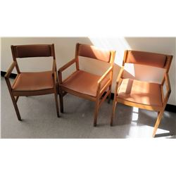 Qty 3 Wooden Upholstered Chairs (RM-Stdnt Center)
