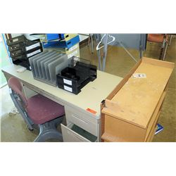 Metal Desk, Rolling Chair, Paper Organizers (RM-221)