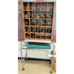 Metal Rolling Rack, Safety Glasses, Wood Compartment (RM-121)