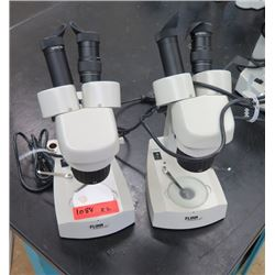 Qty 2 Flinn Stereo Microscopes w/ Eye Pieces (RM-122)