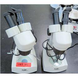 Qty 2 Flinn Stereo Microscopes w/ Eye Pieces (RM-122)