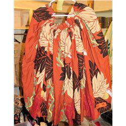 18 Rust Orange Hula Skirts w/ Leaf Pattern (RM-306)