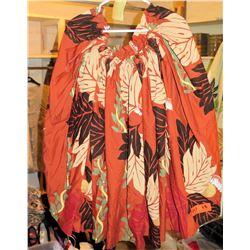 18 Rust Orange Hula Skirts w/ Leaf Pattern (RM-306)