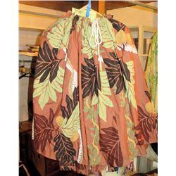 8 Orange-Brown Hula Skirt w/Leaf Pattern (RM-306)