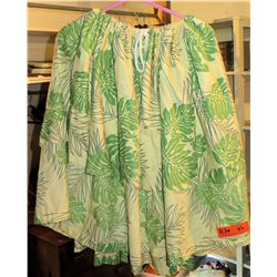6 Beige Hula Skirts w/ Green Leaf Pattern (RM-306)