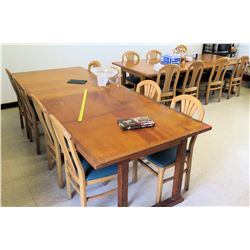 Qty 2 Large Wooden Tables w/ Upholstered Chairs (RM-406)