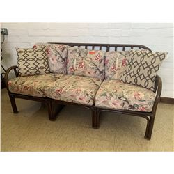 Rattan Sofa Lounger w/ Removable Floral Print Cushions (RM-406)