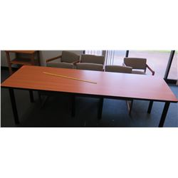 Long Wood-Top Table w/ 6 Chairs