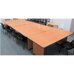 Qty 6 Wooden Desks w/ Matching Black Chairs (CONF.RM)