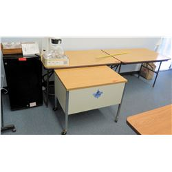 Mini Fridge, Folding Tables, Rolling Desk, File Cabinet (CONF.RM)