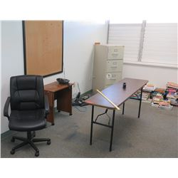 Folding Table, Rolling Chair, File Cabinet, Misc. Books (RM-604)