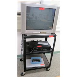 Sony TV w/ VHS & DVD Player, and Rolling Cart (RM-608)