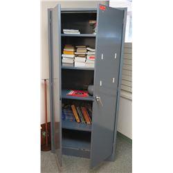 Large Metal Storage Cabinet w/ Books & CD Player