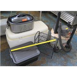 Roaster Oven, Ice Chest, ShopVac, Wire Rack, Plastic Tub (RM-Kitchen)