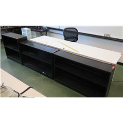 Qty 3 Dark Painted Wooden Bookcase & Long Utility Table
