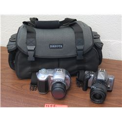 Qty 2 Digital Cameras: Sony MVC-CD400, Canon EOS Rebel (marked broken), Camera Case