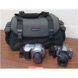 2 Digital Cameras: Sony MVC-CD400, Canon EOS (marked broken), Camera Case (RM-204)