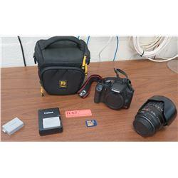 Canon EOS Rebel T1i Digital Camera, Lens, Hood, Case (RM-204)