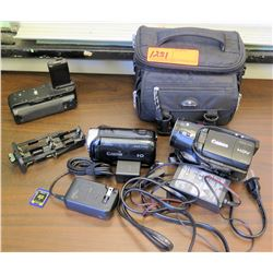 Qty 2 Canon Video Cameras (Vixia HF R400 & Vixia HV40), Accessories, Case (RM-204)