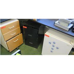 3-Drawer Cabinet, Metal File Cabinet & Mini Refrigerator