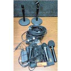 Microphones, Mic Stands, Audio Splitter, etc.