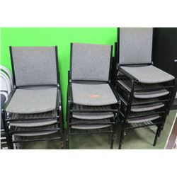 Qty 10 Stackable Chairs, Metal Frame, Gray Upholstery (RM-204)