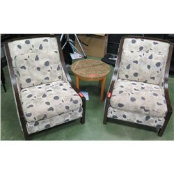 Qty 2 Oversized Lounge Chairs, Round Granite-Top Table (RM-204)