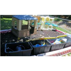 Qty 4 Bins Toys, 2 Outdoor Playhouses