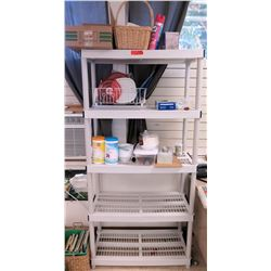 Plastic Shelf with Baskets & Kitchen Supplies