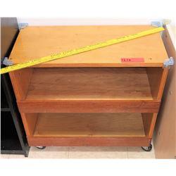 Wood 2 Tier Shelf on Wheels