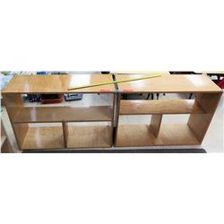 Qty 2 Wood 2 Tier 3 Compartment Shelves