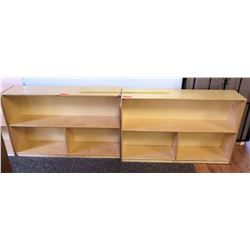 Qty 2 Wood 2 Tier 3 Compartment Shelves (PRE-2)