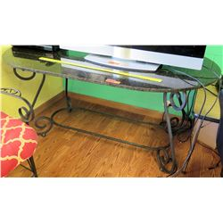 Stone & Wrought Iron Table & 2 Chairs (PRE-2)