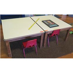 Qty 2 Square Tables & 2 Chairs