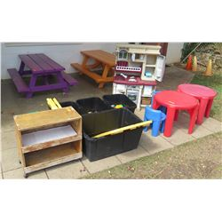 Play Kitchen, 2 Tables, Shelf & Bins (PRE-2)