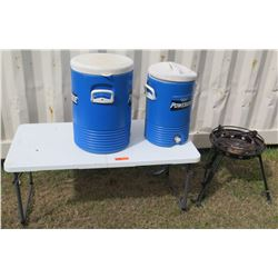 Qty 2 Beverage Coolers, Table & Stove