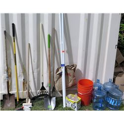 Multiple Yard Tools, Water Bottles & Buckets (in 1392 SHIP CNTNR)