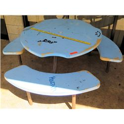 Round Blue Outdoor Picnic Table (BK of AUDITORIUM)
