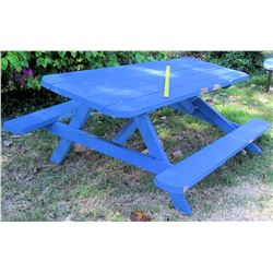 Blue Picnic Table - Lopsided, Needs to be fixed (BK of AUDITORIUM)