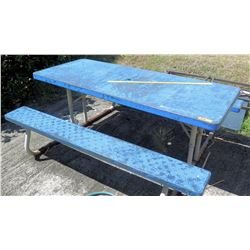 Blue Metal Picnic Table (BK of AUDITORIUM)
