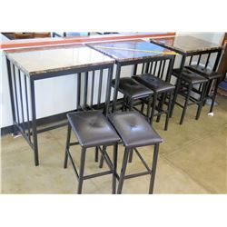 Qty 3 Stone & Metal Tables & 6 Stools (RM-402)