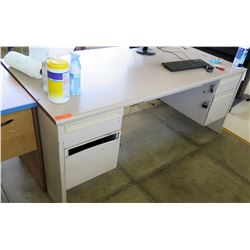 White Desk w/ 2 Sides File Drawers (Rm-402)